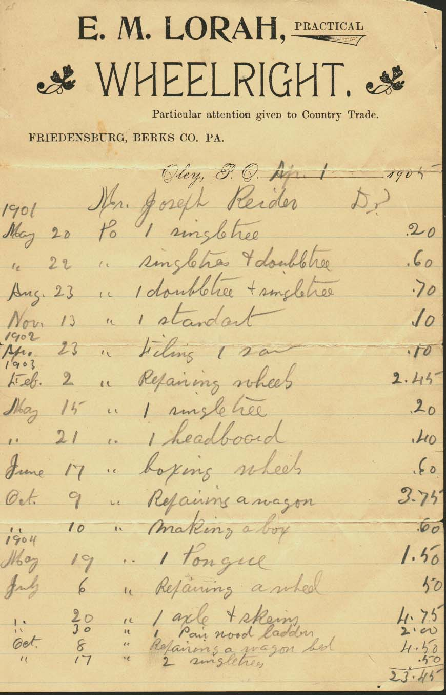 Ledger page from a Wheelright operating around 1900.  From my personal collection.